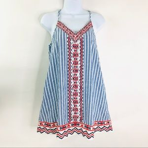 THML Striped Embroidered Spaghetti Strap Dress